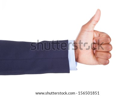 African American hand making thumbs up sign, isolated on white background - Black people - stock photo