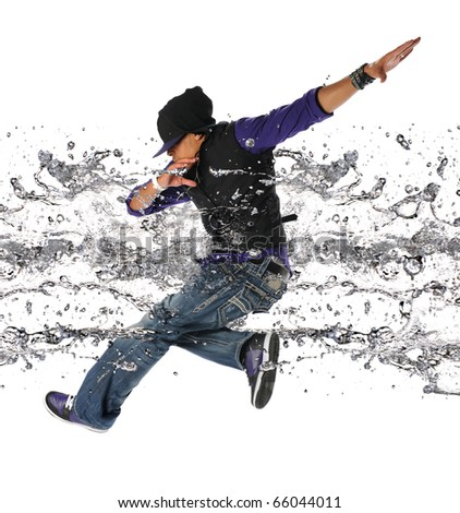 African American hip hop dancer jumping isolated over white background - stock photo
