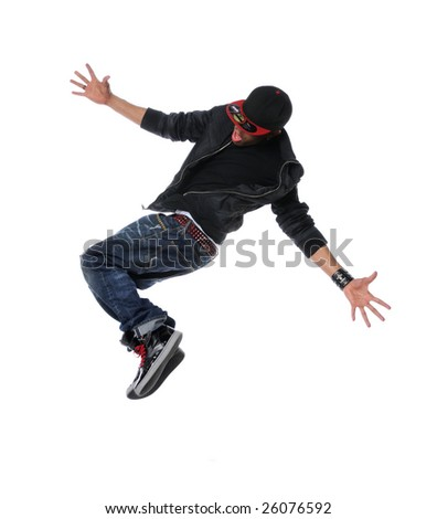 African American hip hop dancer jumping over a white background