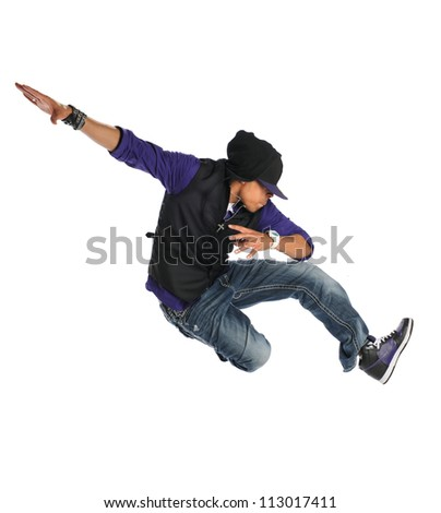 African American hip hop dancer jumping over white background - stock photo
