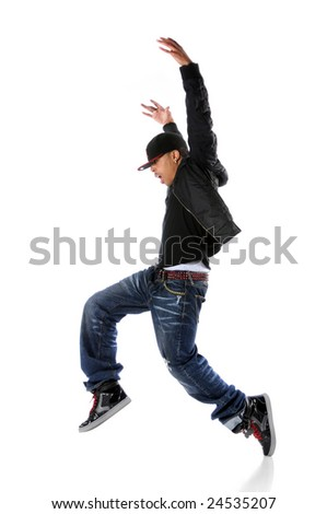 African American hip hop dancer over a white background - stock photo