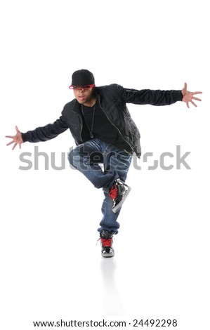 African American hip hop dancer performing - stock photo