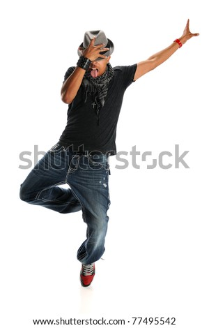 African American hip hop dancer performing holding hat isolated over white background - stock photo