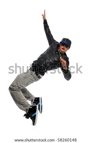 African American hip hop dancer performing move isolated over white background - stock photo