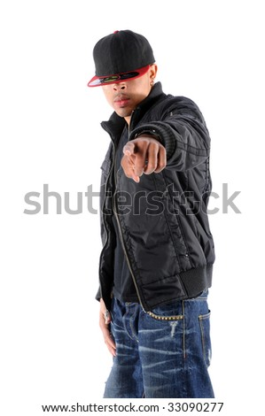 African American hip hop dancer pointing isolated over white background
