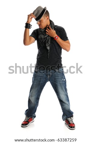 African American hip hop dancer standing isolated over white background - stock photo