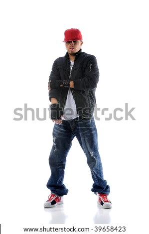 African American hip hop dancer standing over white background - stock photo