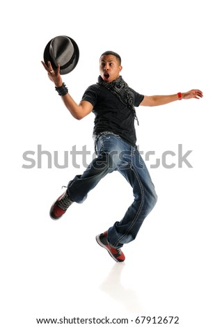 African American hip hop man dancing with hat isolated over white background - stock photo