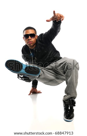 African American hip hop man performing isolated over white background - stock photo