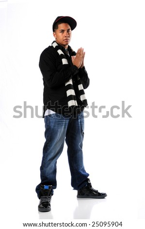 African American hip hop man posing isolated over white - stock photo