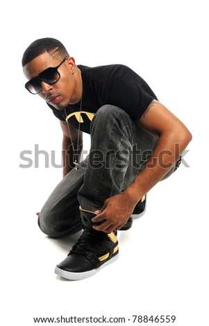 African American hip hop man posing isolated over white background - stock photo