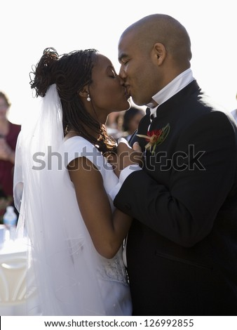 African-American just married couple - stock photo