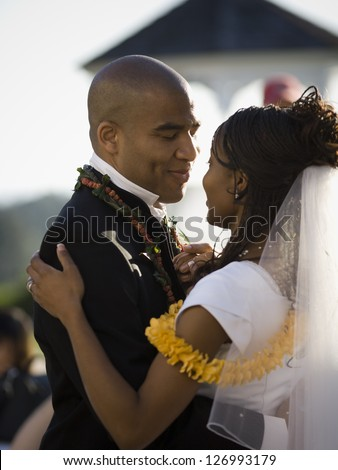 African-American just married couple