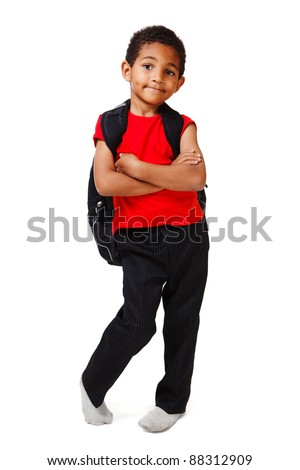 African American little boy with backpack - stock photo