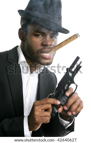 African american mafia man smoking cigar with handgun portrait - stock photo
