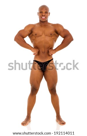 african american male bodybuilder on white background - stock photo