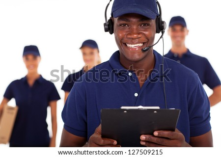 african american male courier service dispatcher and team - stock photo