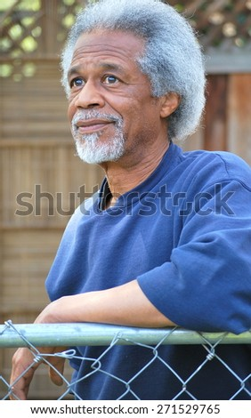 African american male expressions outdoors alone. - stock photo
