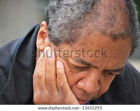 African american male feeling sad and depressed. - stock photo