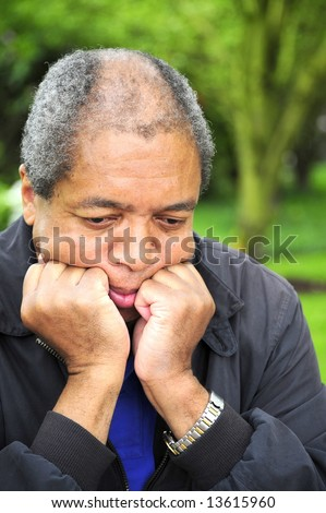 African american male in a state of depression. - stock photo