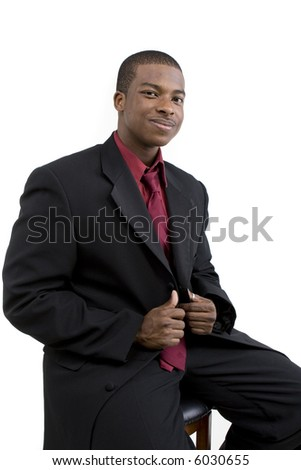 African American Male Model over white background