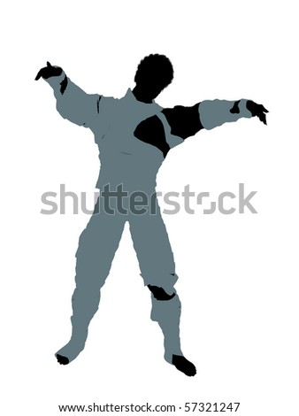 African american male mummy silhouette illustration on a white background