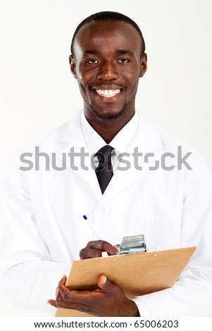 african american male pharmacist with clipboard on white - stock photo