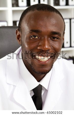 african american male scientist portrait in office - stock photo