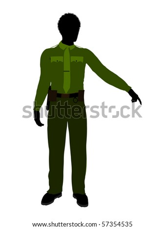 African american male sheriff silhouette illustration on a white background