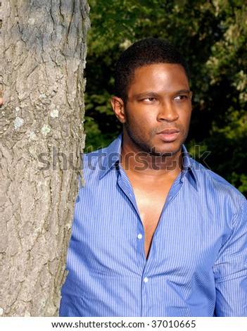 African American Male standing next to tree - stock photo