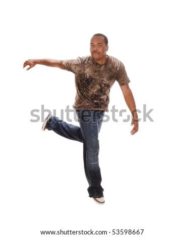 African american man break-dancing isolated over a white background - stock photo