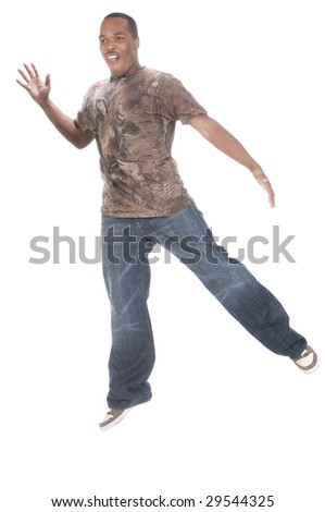 African american man dancing on a white background - stock photo