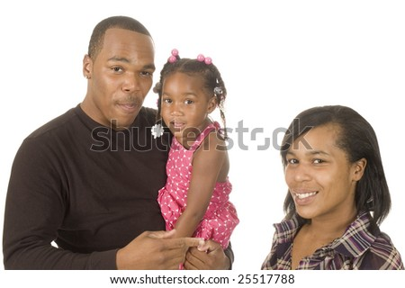 African american man holding his niece in his arms with his sister stand by, isolated over white - stock photo