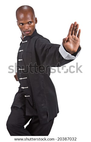 african american man in a kung fu black suit - stock photo