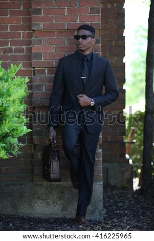 African american man in suit, successful man, businessman, black fashion model, beautiful young adult, student campus, black man in suit, walking, posing, black suit tall man, fashion african model - stock photo