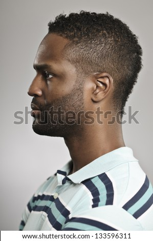 African American Man Profile - stock photo
