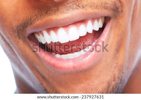 African American man smile. Dental health care. - stock photo