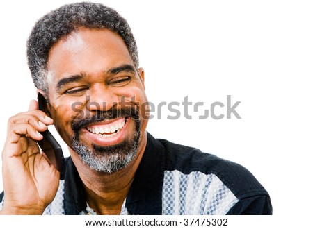 African American man talking on a mobile phone isolated over white