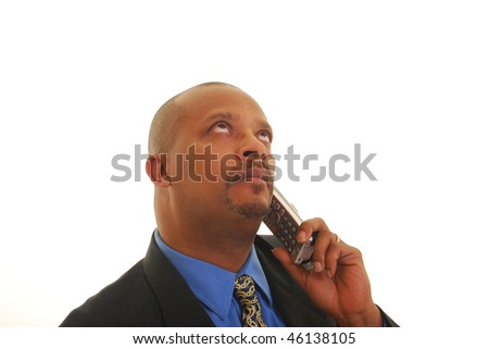 African American man talking on telephone isolated on white. - stock photo