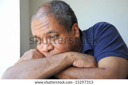 African american man thinking about the future. - stock photo