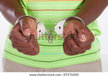african american man with handcuffs