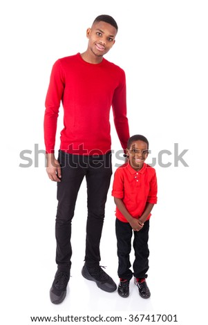 African American man with his little boy isolated on white background - stock photo