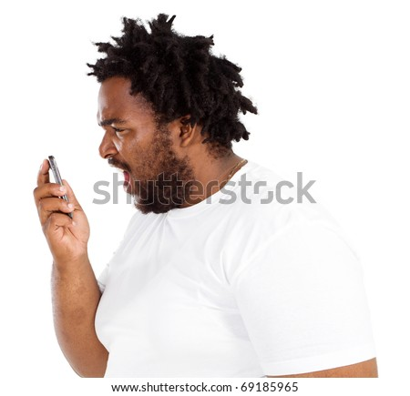 african american man Yelling Into Phone - stock photo