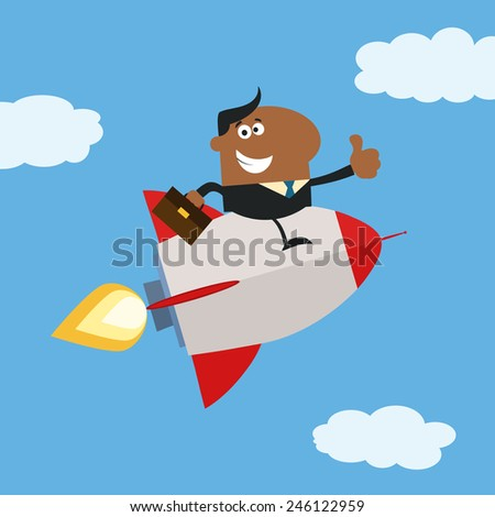 African American Manager Flying In The Sky And Giving Thumb Up.Flat Style Raster Illustration - stock photo