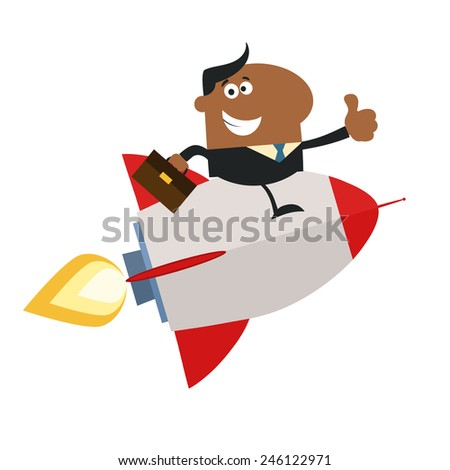 African American Manager Flying On The Rocket And Giving Thumb Up.Flat Style Raster Illustration  - stock photo
