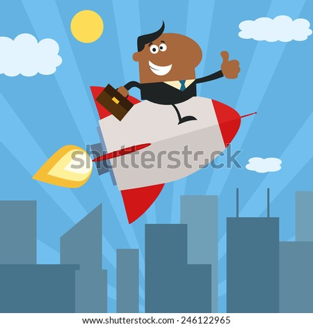 African American Manager Flying Over City And Giving Thumb Up.Flat Style Raster Illustration - stock photo