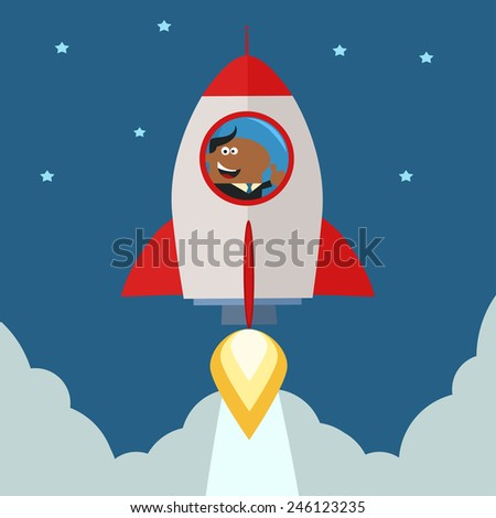 African American Manager Launching A Rocket To The Sky And Giving Thumb Up.Flat Style Raster Illustration  - stock photo