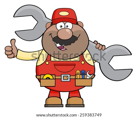 African American Mechanic Cartoon Character Holding Huge Wrench And Giving A Thumb Up. Raster Illustration Isolated On White - stock photo