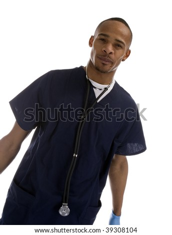 African American Medical Professional over a white background