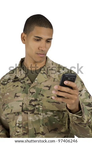 African American Military Man Texting
